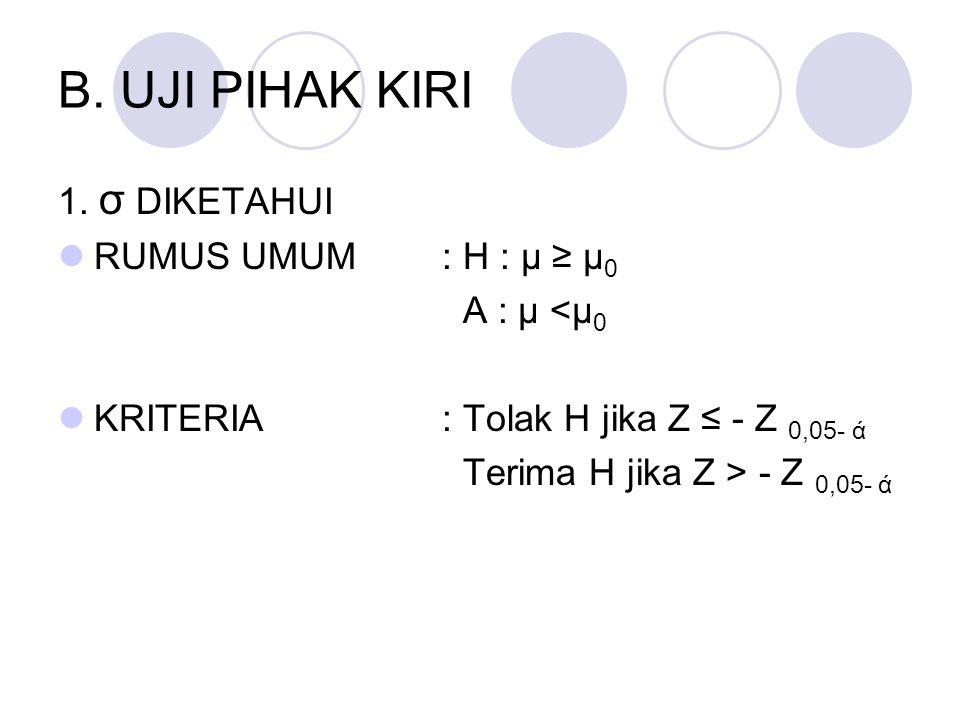B. UJI PIHAK KIRI 1. σ DIKETAHUI RUMUS UMUM : H : μ ≥ μ 0 A : μ <μ 0 KRITERIA: Tolak H jika Z ≤ - Z 0,05- ά Terima H jika Z > - Z 0,05- ά