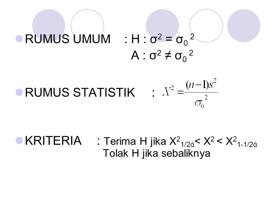 RUMUS UMUM: H : σ 2 = σ 0 2 A : σ 2 ≠ σ 0 2 RUMUS STATISTIK: KRITERIA: Terima H jika X 2 1/2ά < X 2 < X 2 1-1/2ά Tolak H jika sebaliknya