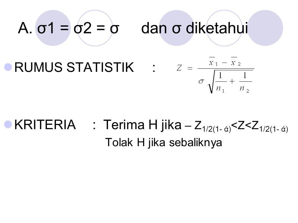 A. σ1 = σ2 = σ dan σ diketahui RUMUS STATISTIK: KRITERIA: Terima H jika – Z 1/2(1- ά) <Z<Z 1/2(1- ά) Tolak H jika sebaliknya