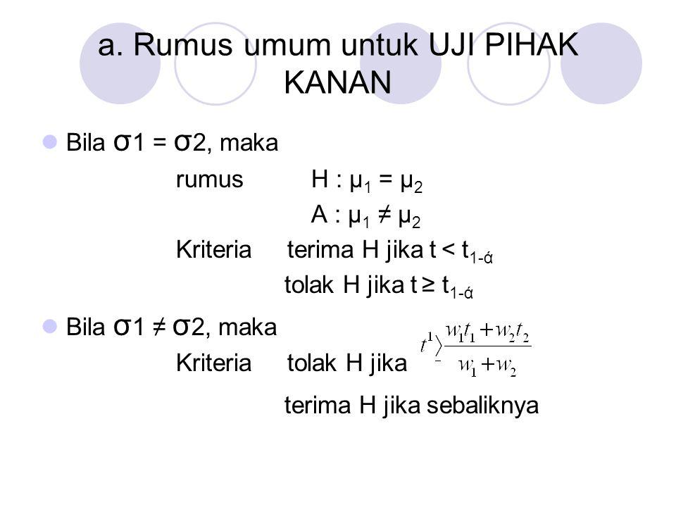 a. Rumus umum untuk UJI PIHAK KANAN Bila σ 1 = σ 2, maka rumus H : μ 1 = μ 2 A : μ 1 ≠ μ 2 Kriteria terima H jika t < t 1-ά tolak H jika t ≥ t 1-ά Bil