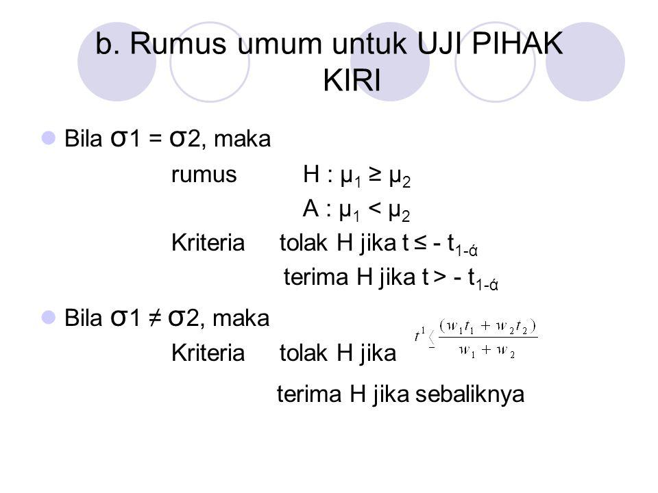 b. Rumus umum untuk UJI PIHAK KIRI Bila σ 1 = σ 2, maka rumus H : μ 1 ≥ μ 2 A : μ 1 < μ 2 Kriteria tolak H jika t ≤ - t 1-ά terima H jika t > - t 1-ά