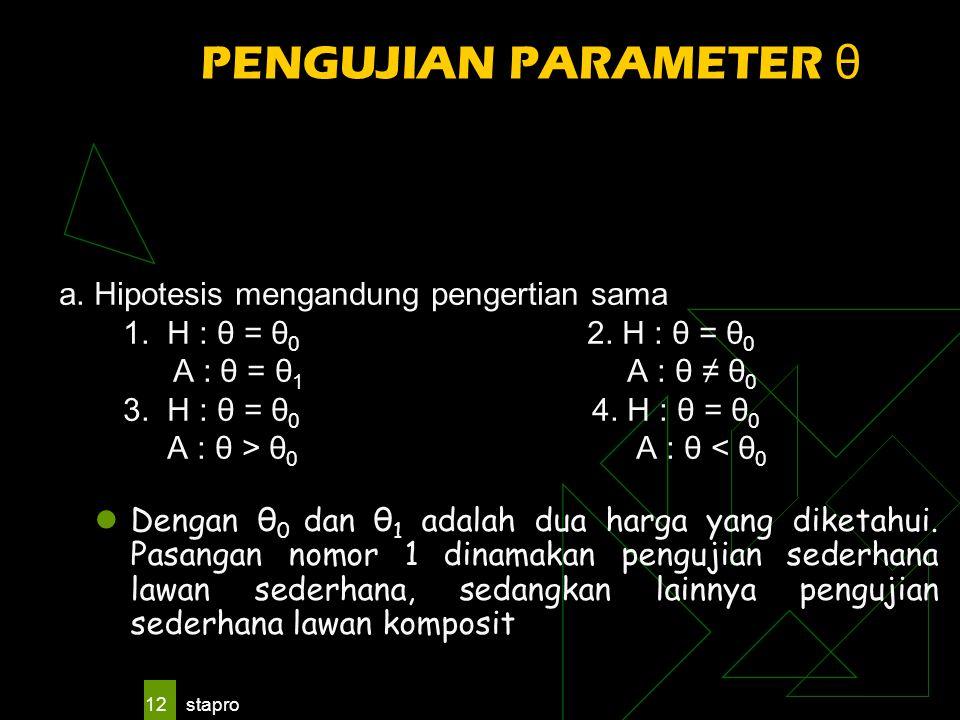 stapro 12 PENGUJIAN PARAMETER θ a. Hipotesis mengandung pengertian sama 1. H : θ = θ 0 2. H : θ = θ 0 A : θ = θ 1 A : θ ≠ θ 0 3. H : θ = θ 0 4. H : θ