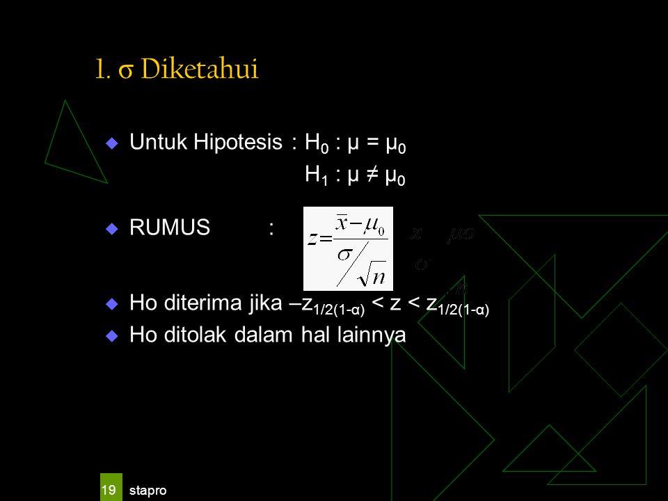 stapro 19 1. σ Diketahui  Untuk Hipotesis : H 0 : μ = μ 0 H 1 : μ ≠ μ 0  RUMUS :  Ho diterima jika –z 1/2(1-α) < z < z 1/2(1-α)  Ho ditolak dalam