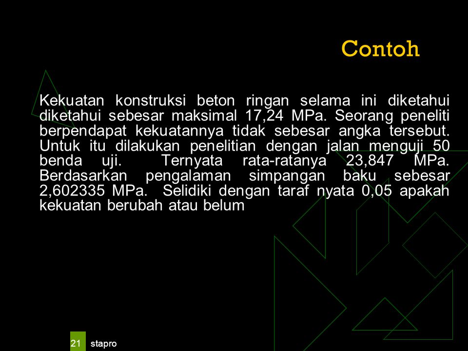 stapro 21 Contoh Kekuatan konstruksi beton ringan selama ini diketahui diketahui sebesar maksimal 17,24 MPa. Seorang peneliti berpendapat kekuatannya