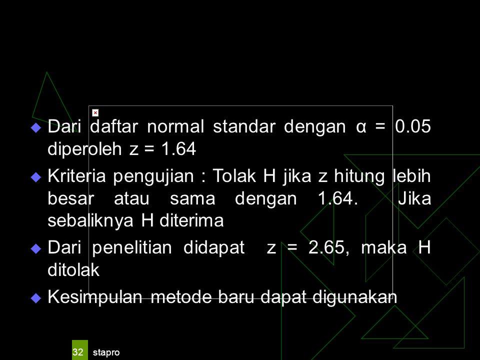 stapro 32  Dari daftar normal standar dengan α = 0.05 diperoleh z = 1.64  Kriteria pengujian : Tolak H jika z hitung lebih besar atau sama dengan 1.