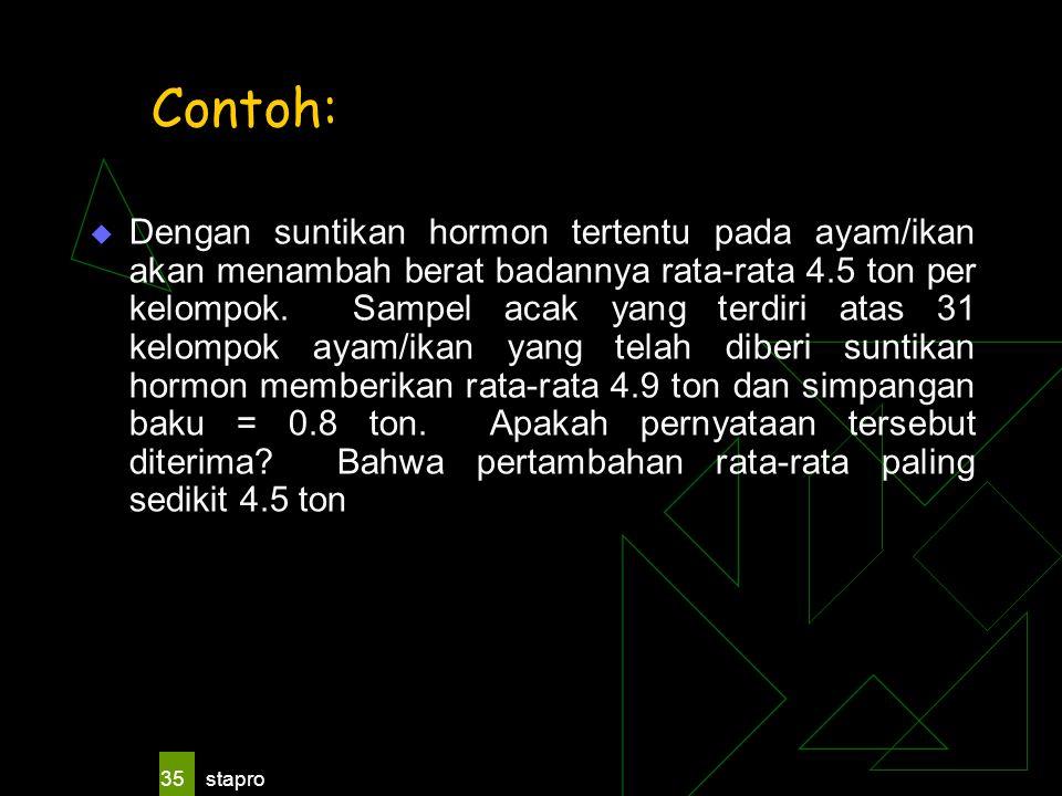 stapro 35 Contoh:  Dengan suntikan hormon tertentu pada ayam/ikan akan menambah berat badannya rata-rata 4.5 ton per kelompok. Sampel acak yang terdi
