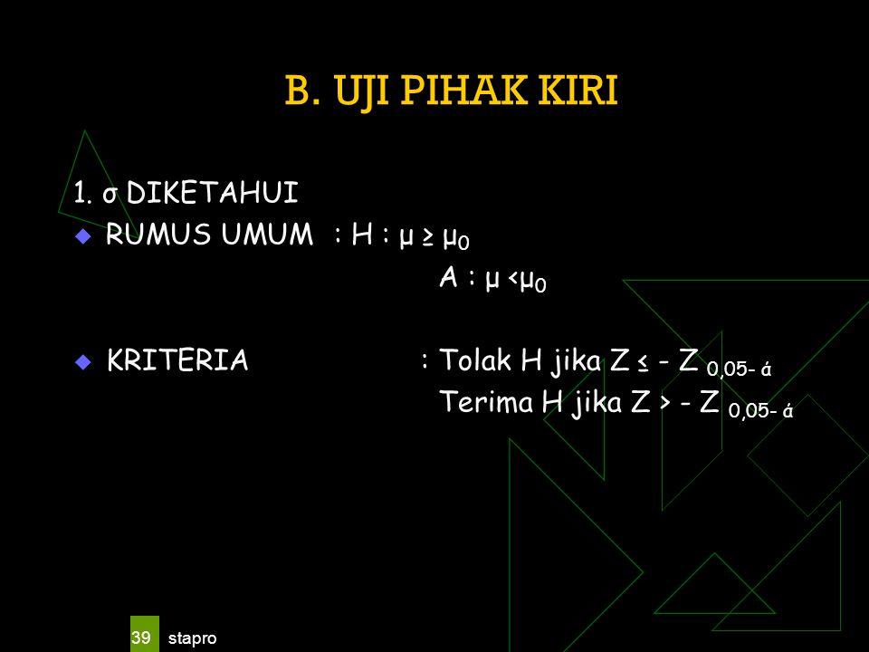 stapro 39 B. UJI PIHAK KIRI 1. σ DIKETAHUI  RUMUS UMUM : H : μ ≥ μ 0 A : μ <μ 0  KRITERIA: Tolak H jika Z ≤ - Z 0,05- ά Terima H jika Z > - Z 0,05-