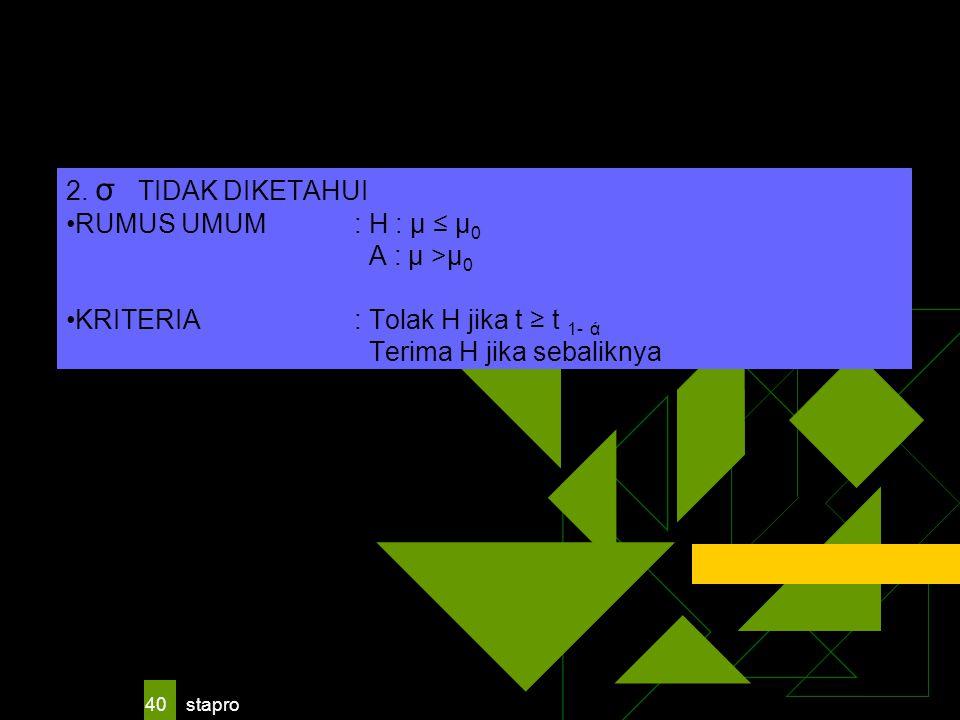 stapro 40 2. σ TIDAK DIKETAHUI RUMUS UMUM : H : μ ≤ μ 0 A : μ >μ 0 KRITERIA: Tolak H jika t ≥ t 1- ά Terima H jika sebaliknya