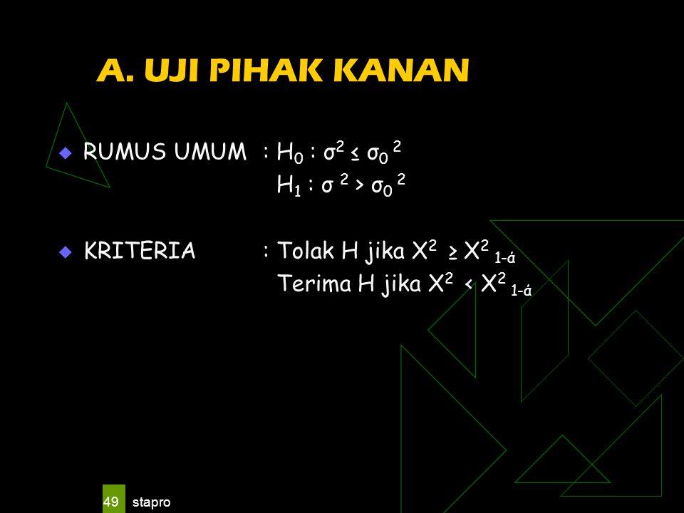stapro 49 A. UJI PIHAK KANAN  RUMUS UMUM : H 0 : σ 2 ≤ σ 0 2 H 1 : σ 2 > σ 0 2  KRITERIA: Tolak H jika X 2 ≥ X 2 1-ά Terima H jika X 2 < X 2 1-ά
