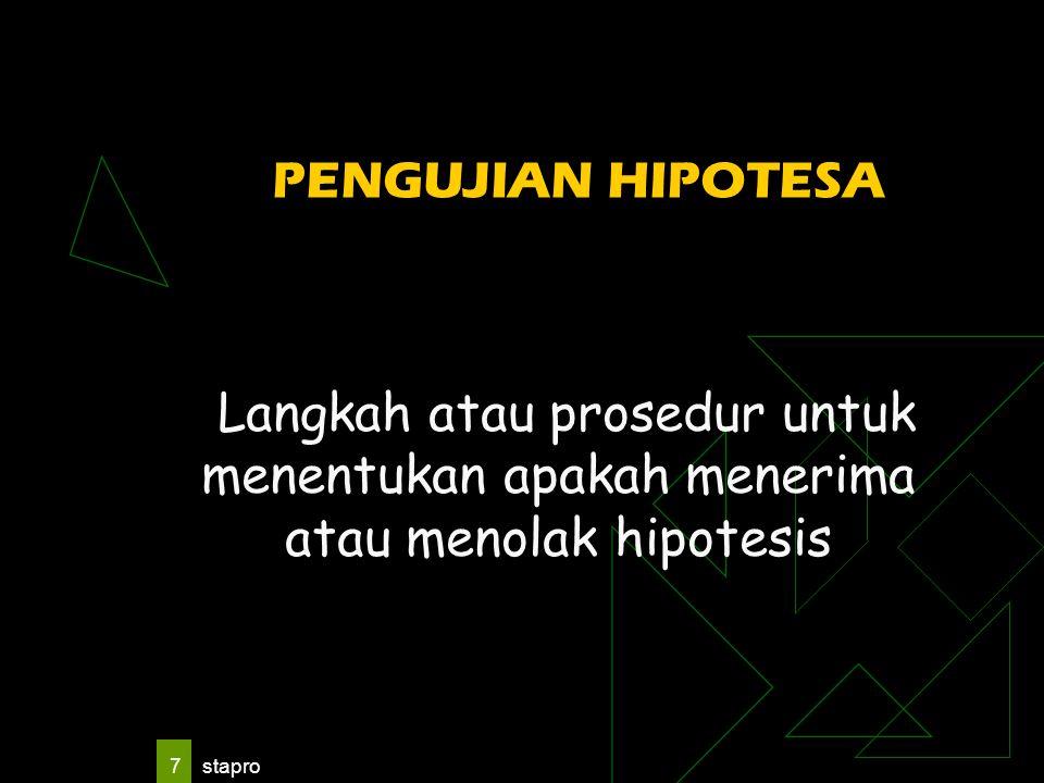 stapro 7 PENGUJIAN HIPOTESA Langkah atau prosedur untuk menentukan apakah menerima atau menolak hipotesis