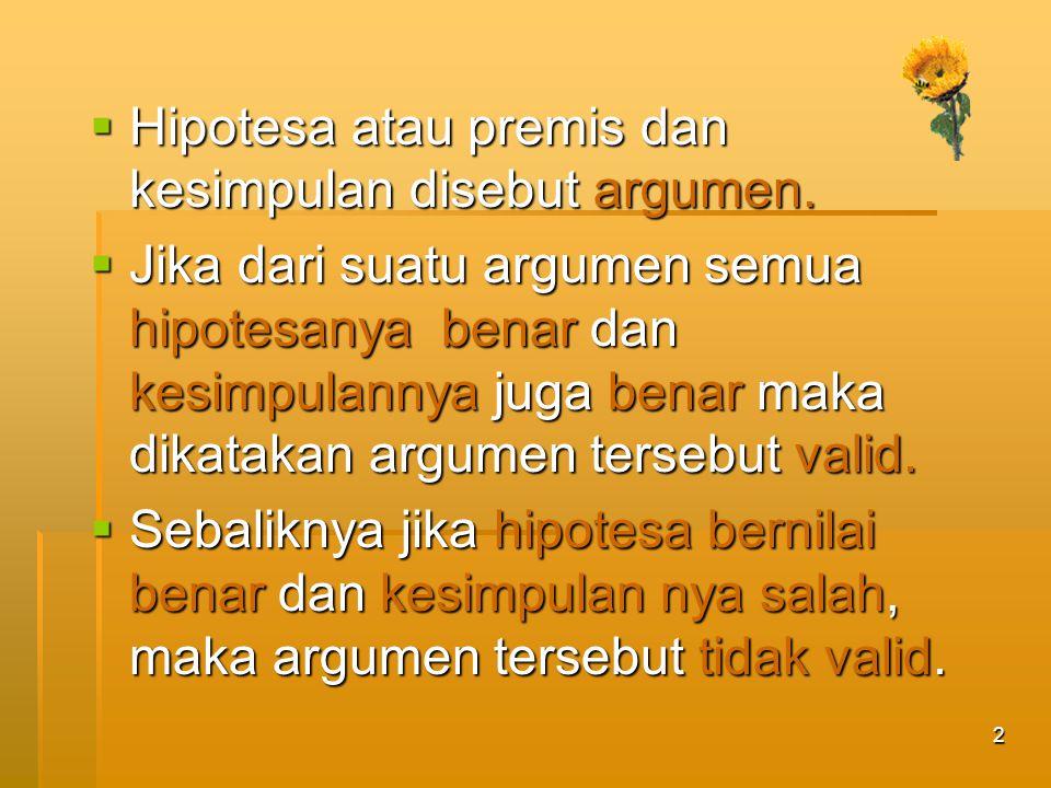 2  Hipotesa atau premis dan kesimpulan disebut argumen.