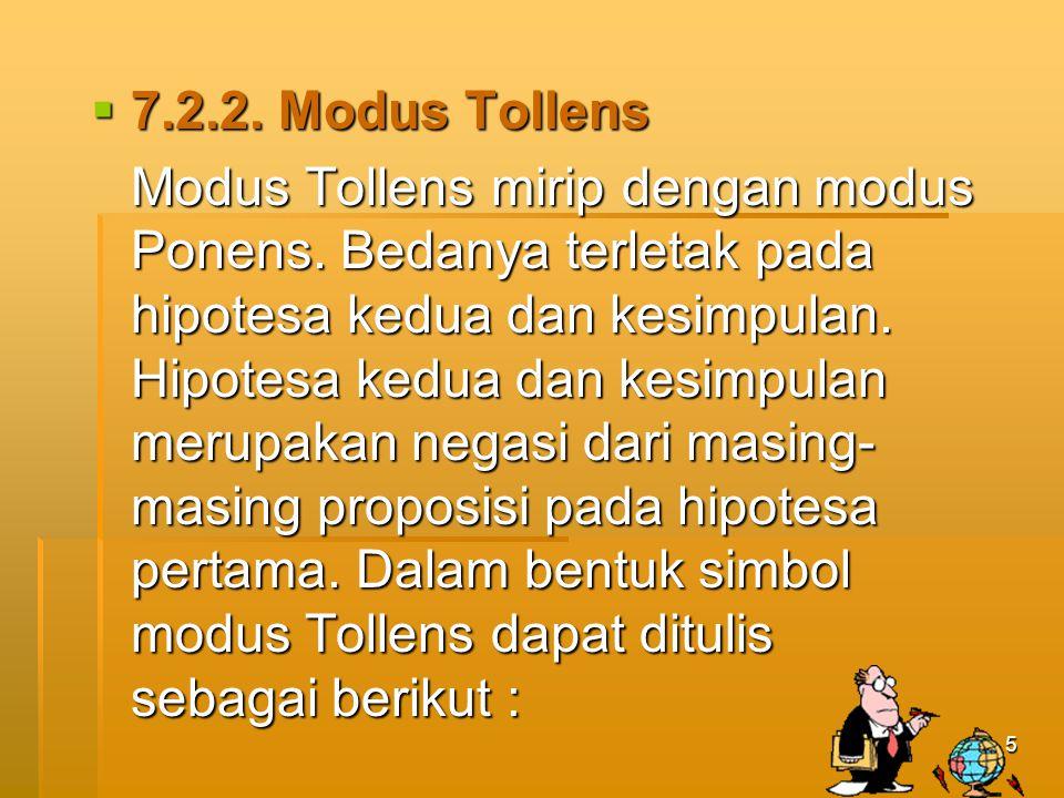 5  7.2.2.Modus Tollens Modus Tollens mirip dengan modus Ponens.