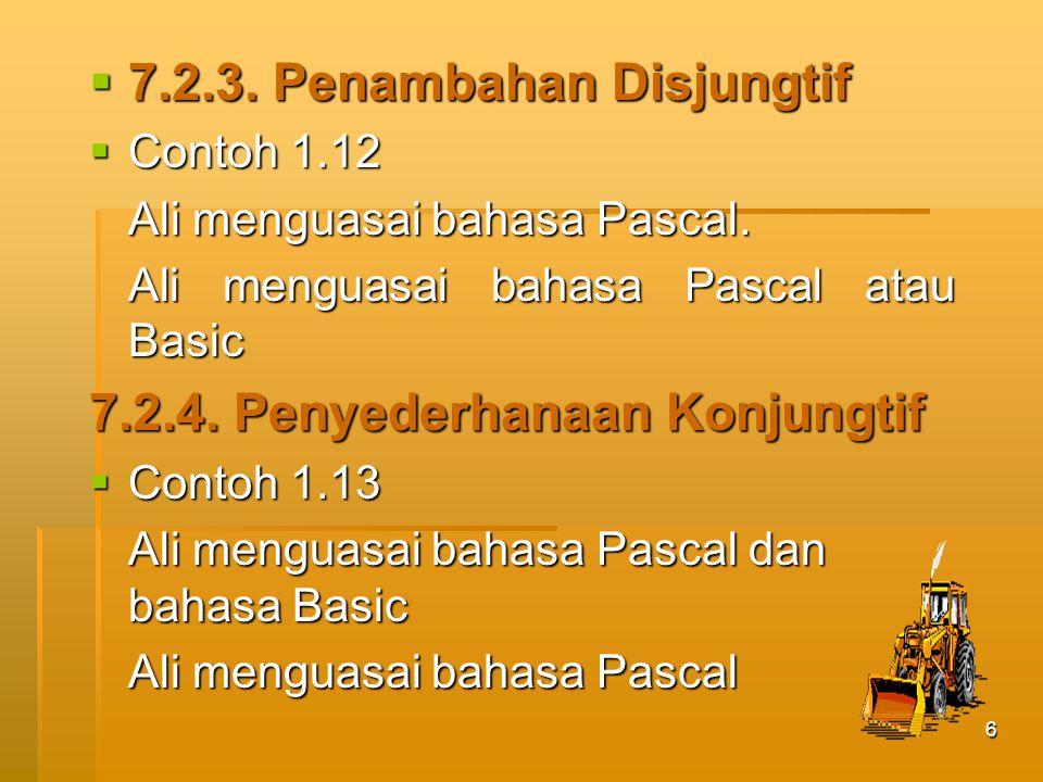 6  7.2.3.Penambahan Disjungtif  Contoh 1.12 Ali menguasai bahasa Pascal.