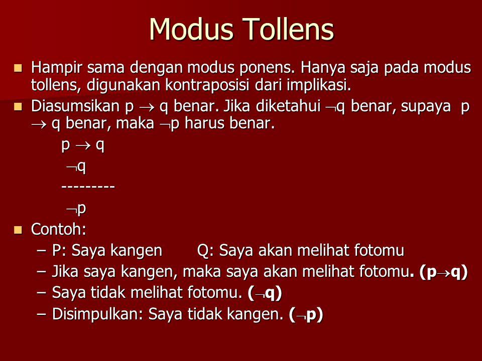 Modus Tollens Hampir sama dengan modus ponens. Hanya saja pada modus tollens, digunakan kontraposisi dari implikasi. Hampir sama dengan modus ponens.