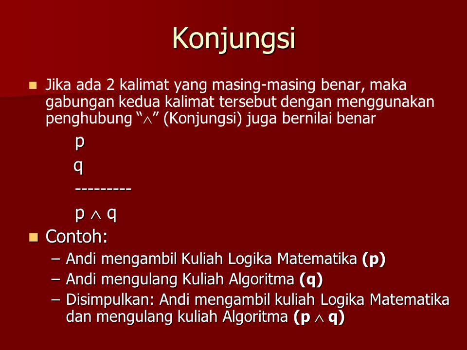 "Konjungsi Jika ada 2 kalimat yang masing-masing benar, maka gabungan kedua kalimat tersebut dengan menggunakan penghubung ""  "" (Konjungsi) juga berni"