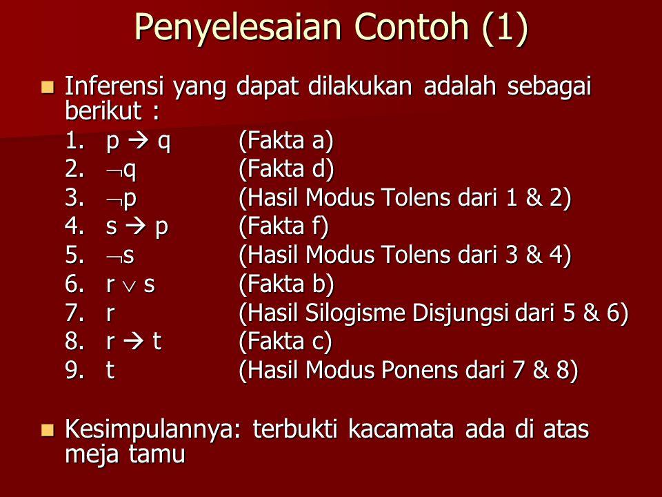 Penyelesaian Contoh (1) Inferensi yang dapat dilakukan adalah sebagai berikut : Inferensi yang dapat dilakukan adalah sebagai berikut : 1. p  q(Fakta
