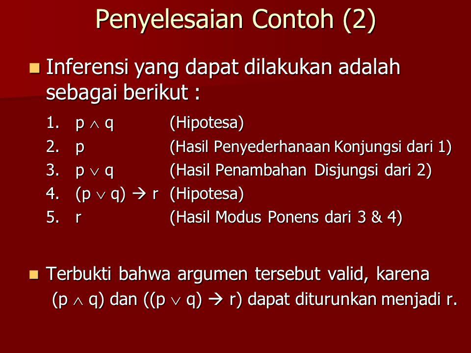 Penyelesaian Contoh (2) Inferensi yang dapat dilakukan adalah sebagai berikut : Inferensi yang dapat dilakukan adalah sebagai berikut : 1. p  q(Hipot