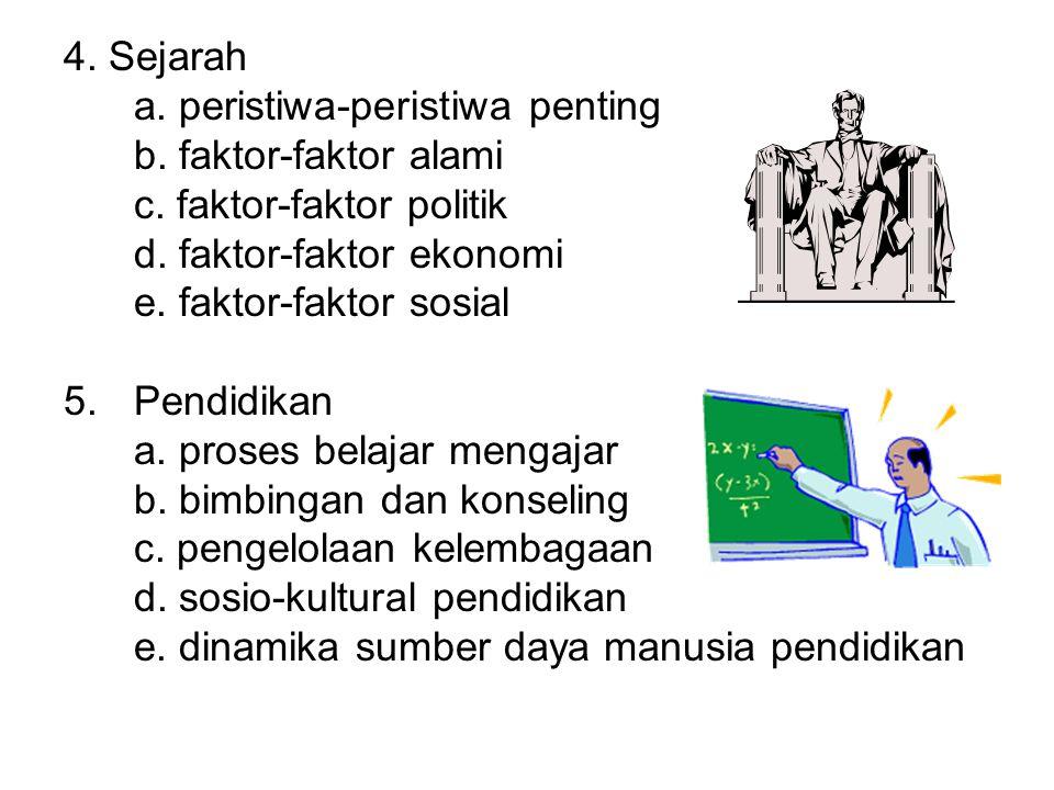4. Sejarah a. peristiwa-peristiwa penting b. faktor-faktor alami c. faktor-faktor politik d. faktor-faktor ekonomi e. faktor-faktor sosial 5.Pendidika