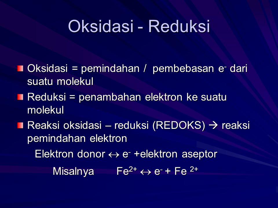 Oksidasi - Reduksi Oksidasi = pemindahan / pembebasan e - dari suatu molekul Reduksi = penambahan elektron ke suatu molekul Reaksi oksidasi – reduksi