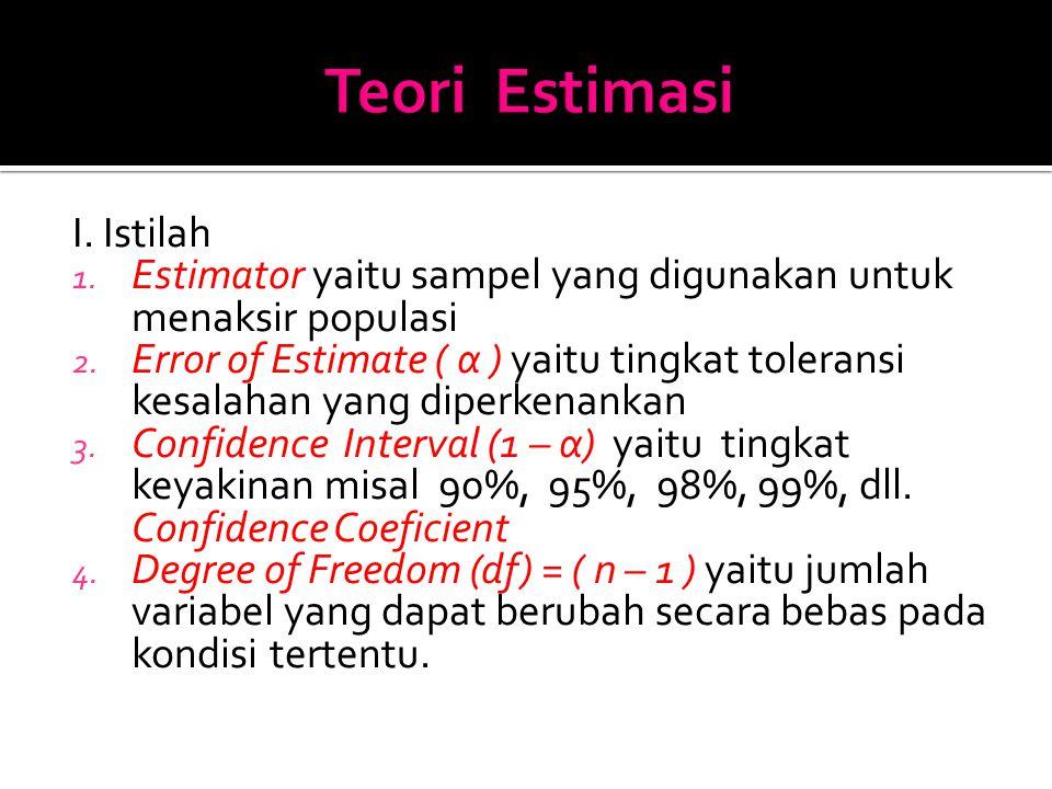 I. Istilah 1. Estimator yaitu sampel yang digunakan untuk menaksir populasi 2.