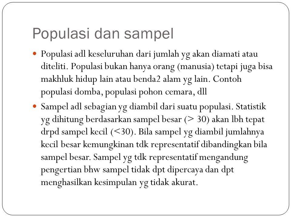 Populasi dan sampel Populasi adl keseluruhan dari jumlah yg akan diamati atau diteliti. Populasi bukan hanya orang (manusia) tetapi juga bisa makhluk