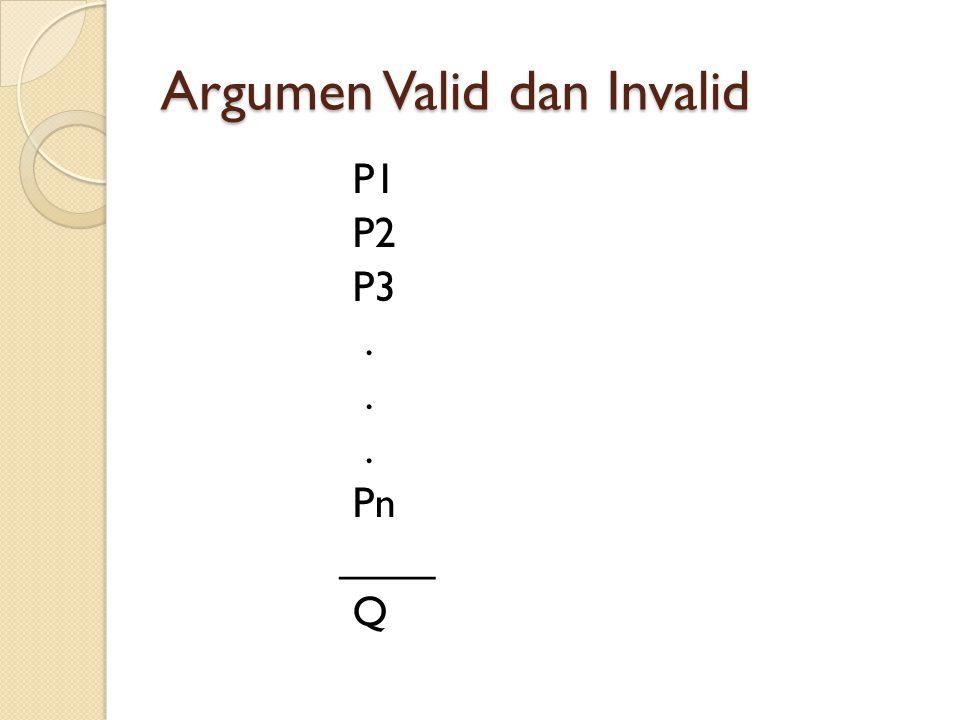Argumen Valid dan Invalid Suatu argumen dikatakan valid apabila untuk sembarang pernyataan yang disubsitusikan kedalam hipotesa, jika semua hipotesa tersebut benar, maka kesimpulan juga benar.