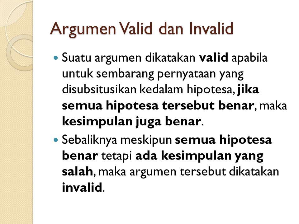 Argumen Valid dan Invalid Suatu argumen dikatakan valid apabila untuk sembarang pernyataan yang disubsitusikan kedalam hipotesa, jika semua hipotesa t