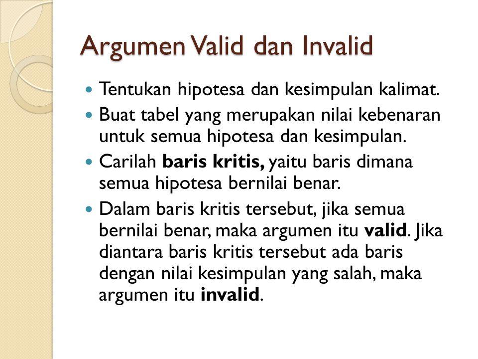 Argumen Valid dan Invalid Tentukan hipotesa dan kesimpulan kalimat. Buat tabel yang merupakan nilai kebenaran untuk semua hipotesa dan kesimpulan. Car