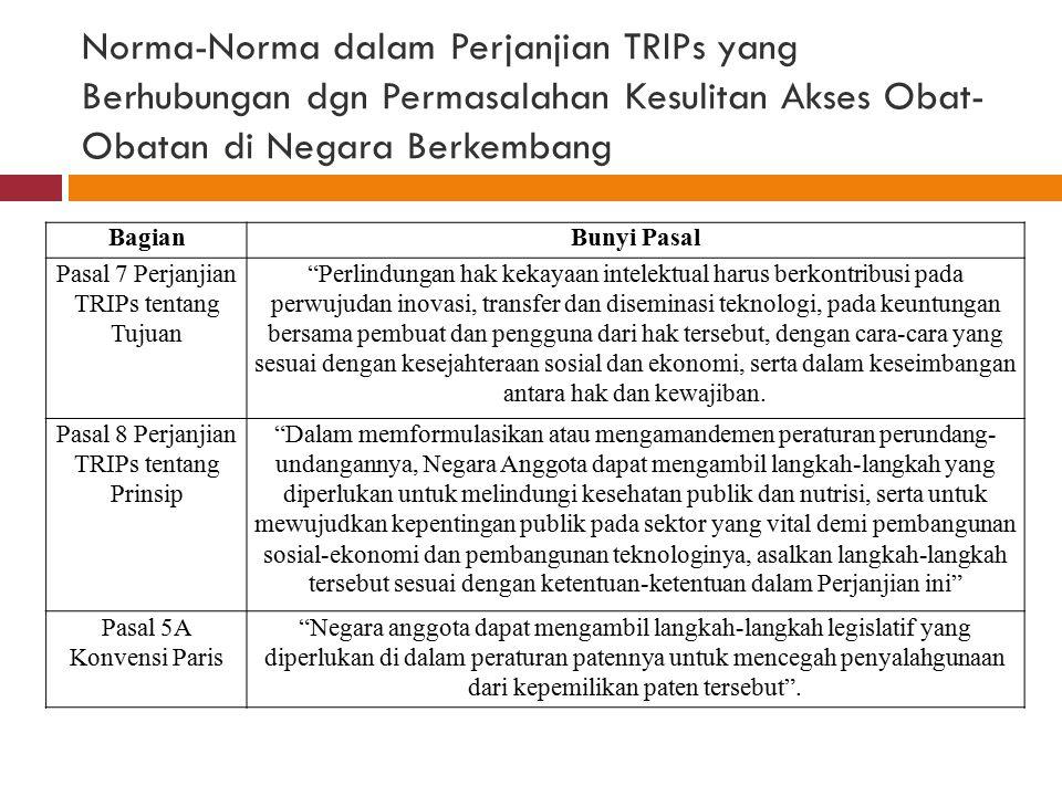 Norma-Norma dalam Perjanjian TRIPs yang Berhubungan dgn Permasalahan Kesulitan Akses Obat- Obatan di Negara Berkembang BagianBunyi Pasal Pasal 7 Perja
