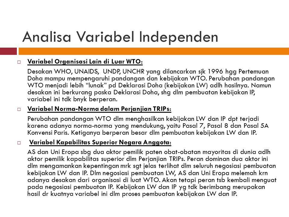 Analisa Variabel Independen  Variabel Organisasi Lain di Luar WTO: Desakan WHO, UNAIDS, UNDP, UNCHR yang dilancarkan sjk 1996 hgg Pertemuan Doha mamp