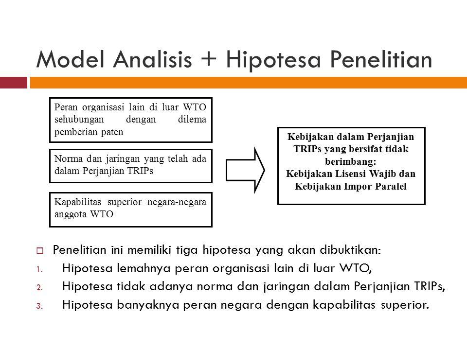 Model Analisis + Hipotesa Penelitian  Penelitian ini memiliki tiga hipotesa yang akan dibuktikan: 1. Hipotesa lemahnya peran organisasi lain di luar