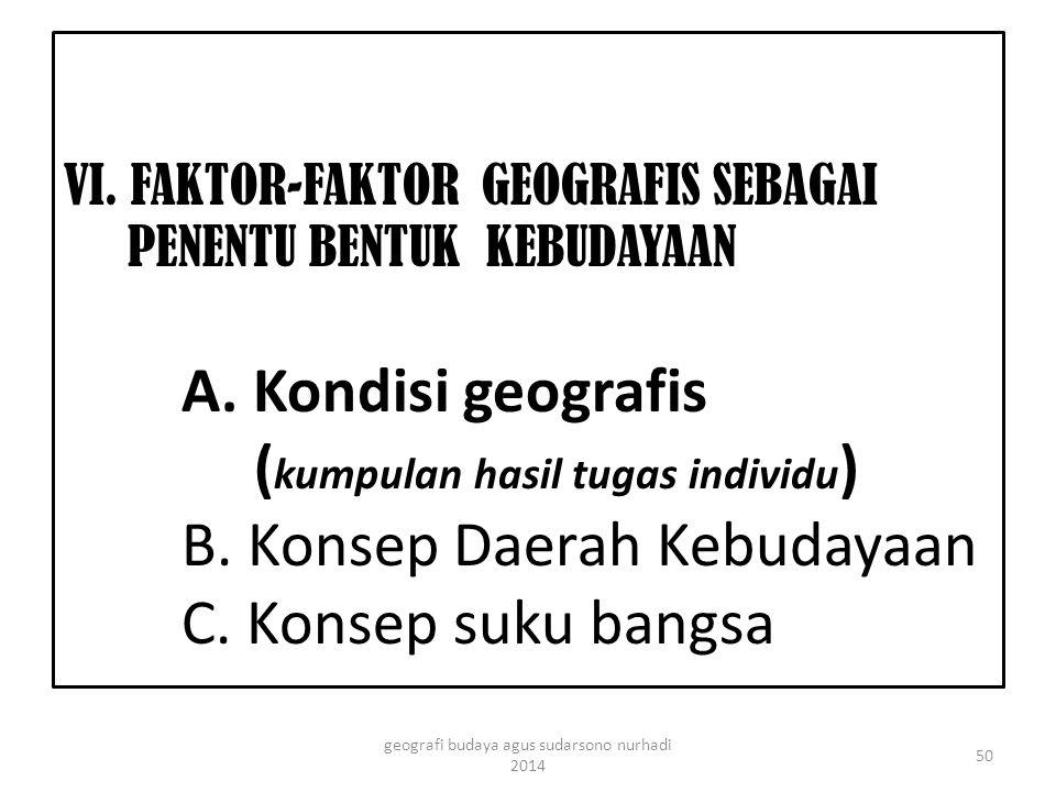 VI. FAKTOR-FAKTOR GEOGRAFIS SEBAGAI PENENTU BENTUK KEBUDAYAAN A.