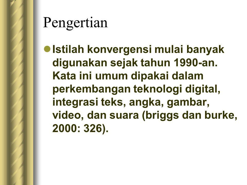 Pengertian Istilah konvergensi mulai banyak digunakan sejak tahun 1990-an. Kata ini umum dipakai dalam perkembangan teknologi digital, integrasi teks,