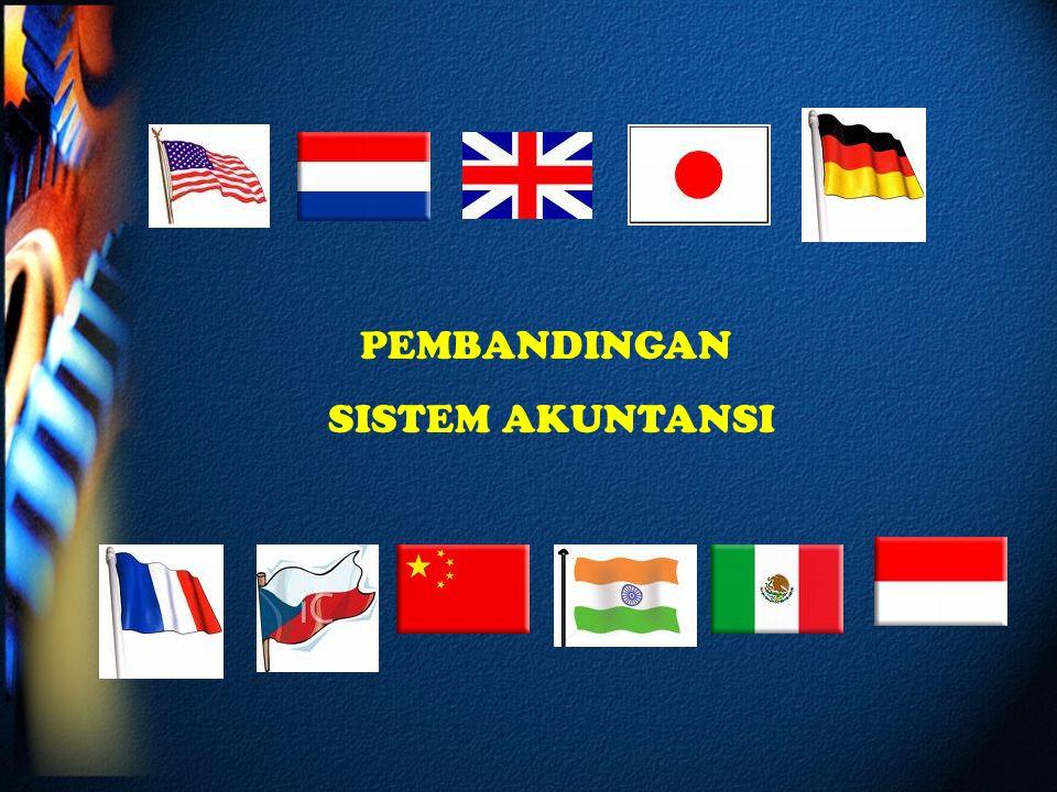PEMBANDINGAN SISTEM AKUNTANSI Yang akan diandingkan adalah :Pengaturan dan pembinaan Akuntansi, Pelaporan Keuangan, Pengukuran Akuntansi dan Usaha Konvergensi Yang akan dibandingkan adalah a.Sistem Akuntansi 6 negara pendiri IASC/ IASB : Amerika Serikat, Belanda, Inggris, Jepang, Jerman dan Perancis.