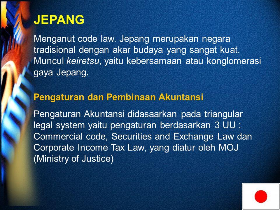 JEPANG Menganut code law.Jepang merupakan negara tradisional dengan akar budaya yang sangat kuat.