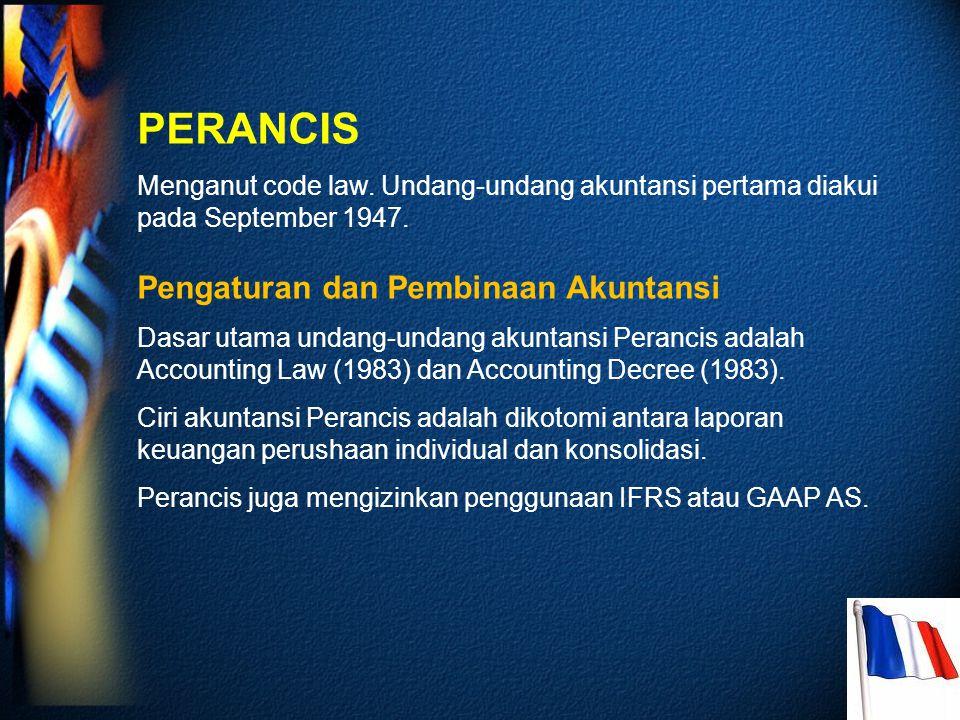 PERANCIS Menganut code law.Undang-undang akuntansi pertama diakui pada September 1947.