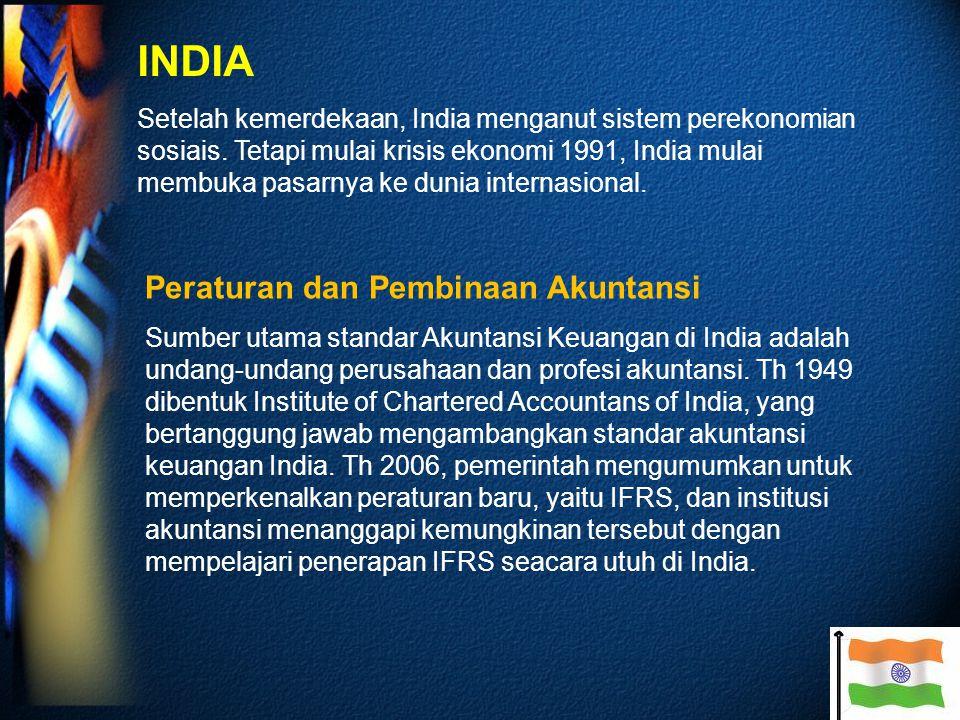 INDIA Setelah kemerdekaan, India menganut sistem perekonomian sosiais.