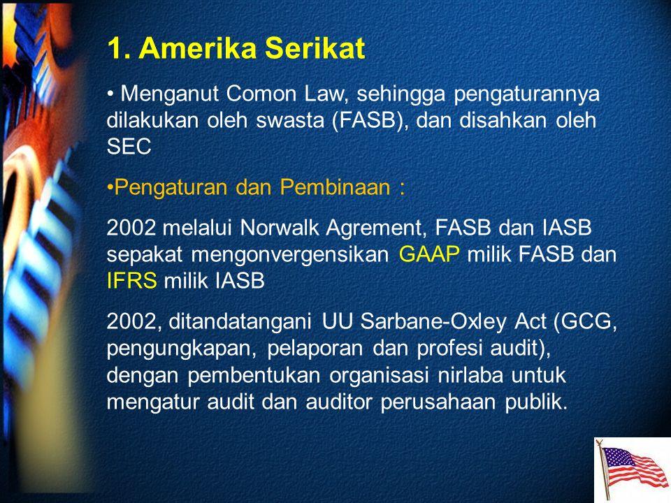 1. Amerika Serikat Menganut Comon Law, sehingga pengaturannya dilakukan oleh swasta (FASB), dan disahkan oleh SEC Pengaturan dan Pembinaan : 2002 mela