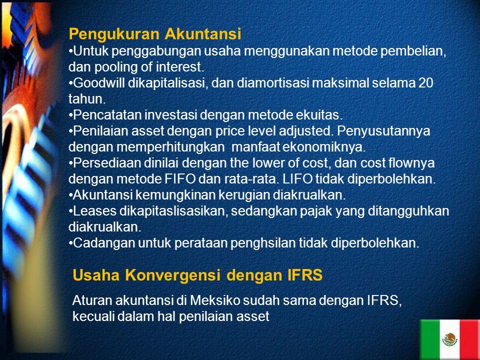 Pengukuran Akuntansi Untuk penggabungan usaha menggunakan metode pembelian, dan pooling of interest.
