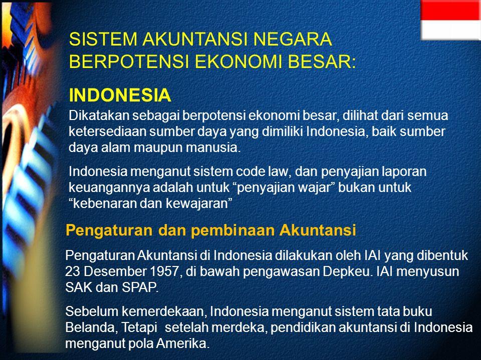 SISTEM AKUNTANSI NEGARA BERPOTENSI EKONOMI BESAR: INDONESIA Dikatakan sebagai berpotensi ekonomi besar, dilihat dari semua ketersediaan sumber daya yang dimiliki Indonesia, baik sumber daya alam maupun manusia.