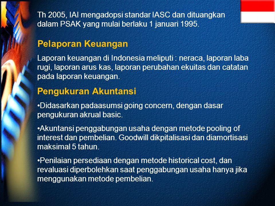 Th 2005, IAI mengadopsi standar IASC dan dituangkan dalam PSAK yang mulai berlaku 1 januari 1995.