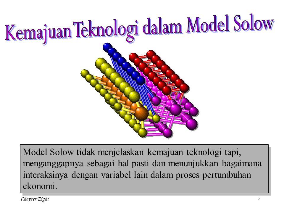 Chapter Eight 23 Teori Pertumbuhan Endogen menolak asumsi dasar Solow tentang perubahan teknologi eksogen (yang berasal dari luar).