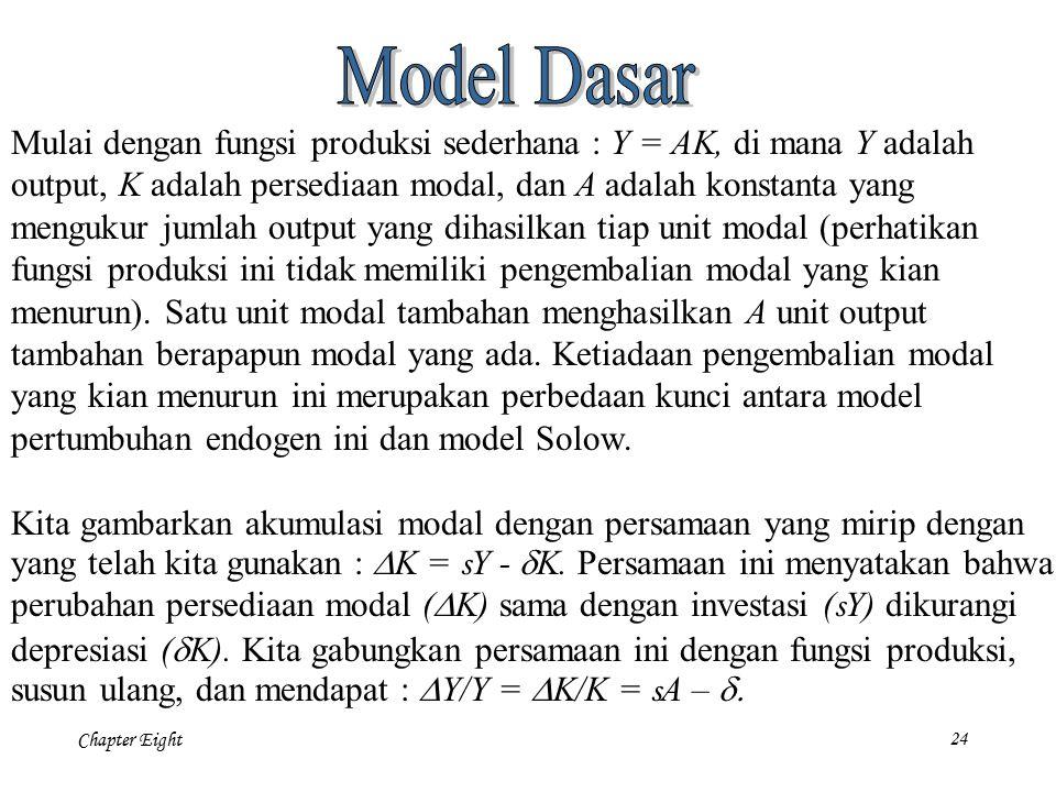 Chapter Eight 24 Mulai dengan fungsi produksi sederhana : Y = AK, di mana Y adalah output, K adalah persediaan modal, dan A adalah konstanta yang meng