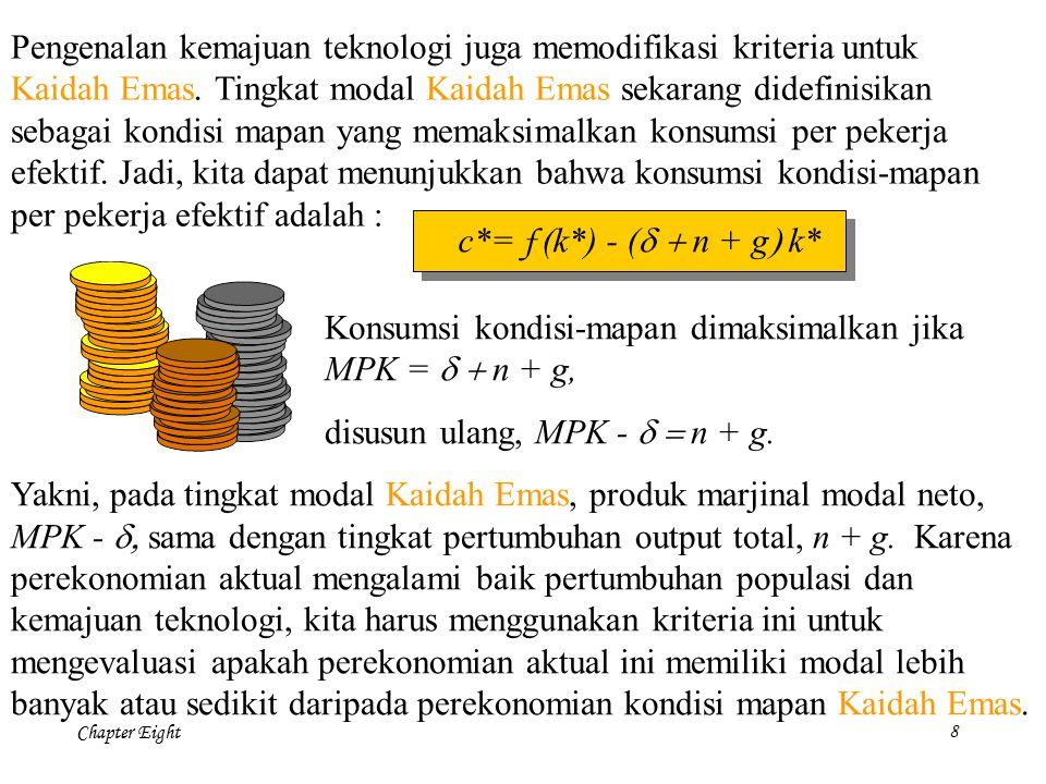 Chapter Eight 9 Modal per pekerja efektif k = K/(E  L) 0 Output per pekerja efektif y = Y/ (E  L) = f(k) 0 Output per pekerja Y/L = y  g Output total Y = y  L) n + g