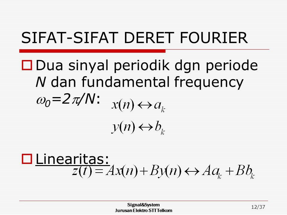 Signal&System Jurusan Elektro STT Telkom 12/37 SIFAT-SIFAT DERET FOURIER  Dua sinyal periodik dgn periode N dan fundamental frequency  0 =2/N:  Li