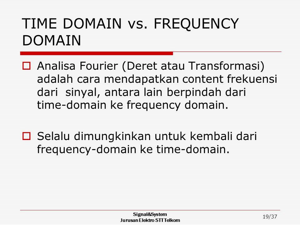 Signal&System Jurusan Elektro STT Telkom 19/37 TIME DOMAIN vs. FREQUENCY DOMAIN  Analisa Fourier (Deret atau Transformasi) adalah cara mendapatkan co