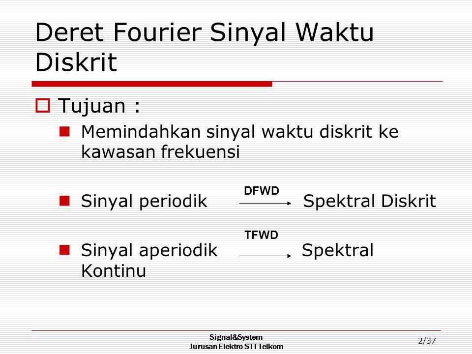 Signal&System Jurusan Elektro STT Telkom 2/37 Deret Fourier Sinyal Waktu Diskrit  Tujuan : Memindahkan sinyal waktu diskrit ke kawasan frekuensi Siny