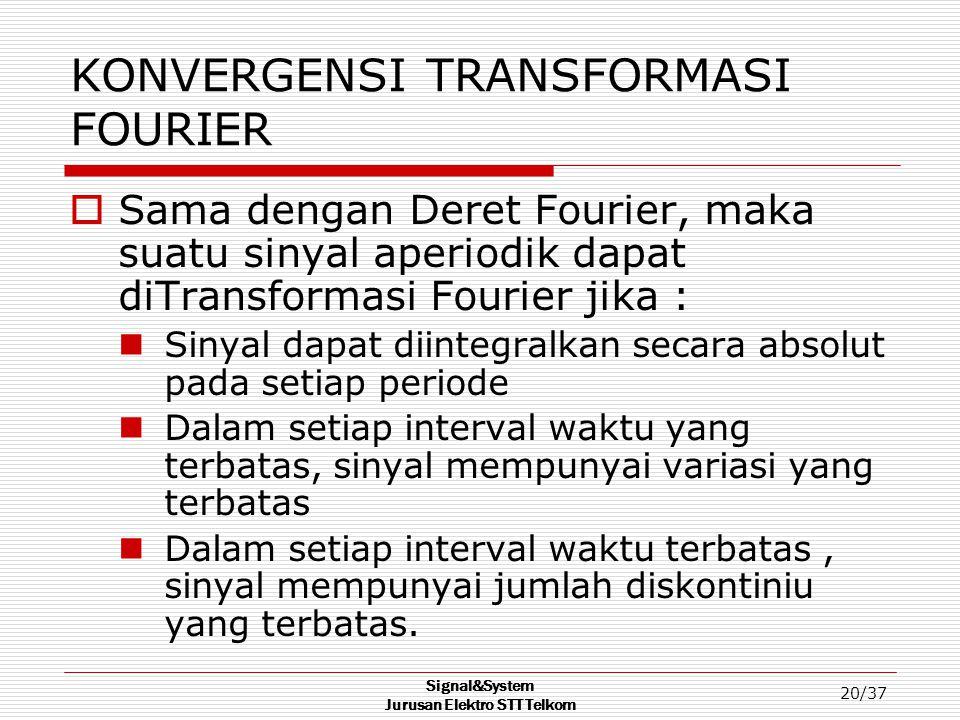 Signal&System Jurusan Elektro STT Telkom 20/37 KONVERGENSI TRANSFORMASI FOURIER  Sama dengan Deret Fourier, maka suatu sinyal aperiodik dapat diTrans