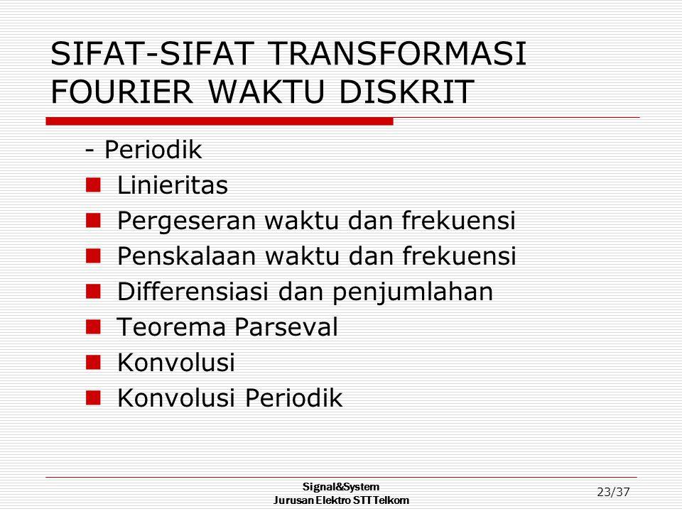 Signal&System Jurusan Elektro STT Telkom 23/37 SIFAT-SIFAT TRANSFORMASI FOURIER WAKTU DISKRIT - Periodik Linieritas Pergeseran waktu dan frekuensi Pen