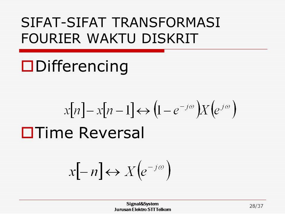 Signal&System Jurusan Elektro STT Telkom 28/37 SIFAT-SIFAT TRANSFORMASI FOURIER WAKTU DISKRIT  Differencing  Time Reversal
